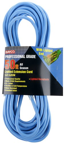 Bayco SL-994 50' All Seasons Professional 14/3 Extension Cord with Lighted End