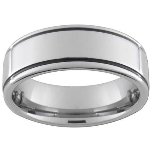 8mm Tungsten Carbide Ring Flat/Pipe Enameled (full& half sizes 5-15) Size 11 1/2