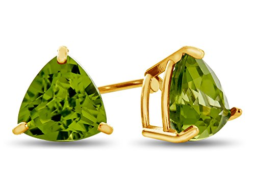 7x7mm Trillion Peridot Post-With-Friction-Back Stud Earrings 14kt