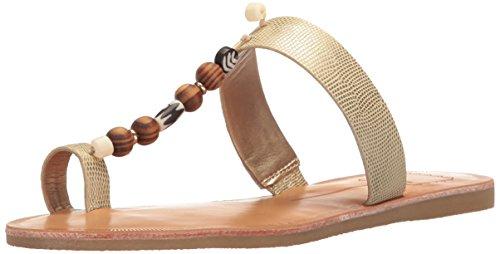 Dolce Vita Women's Jude Toe Ring Sandal, Gold Lizard Embossed Stella, 9.5 M US