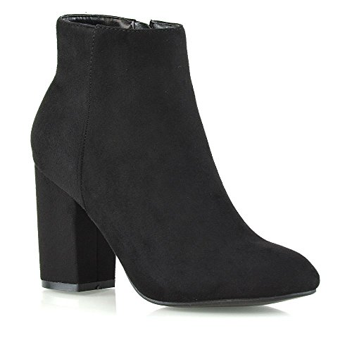 - ESSEX GLAM Womens Casual Black Faux Suede Block Mid High Heel Smart Ankle Boots 9 B(M) US