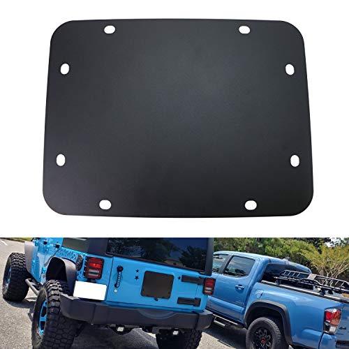 - iJDMTOY (1) Black Blank Tailgate Spare Tire Carrier Mount Eliminator Plate for 2007-2017 Jeep Wrangler JK