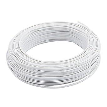 DealMux Branco PVC revestido núcleo de ferro 0,75 milímetros de diâmetro Ferro fio 100M