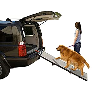 Pet Gear Tri-Fold Ramp 71 Inch Long Extra Wide Portable Pet Ramp for Dogs/Cats up to 200lbs, Patented Compact/Easy Fold with Safety Tether 1