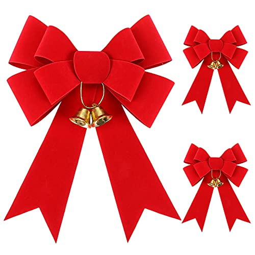 MCPINKY Christmas Bows Decor, 9 X 12 Inches Christmas Red Velvet Bows 3PCS Christmas Tree Crafts with Jingle Bells and Ribbon for Christmas Wreath Gift Box Holiday Halloween Day Decorations