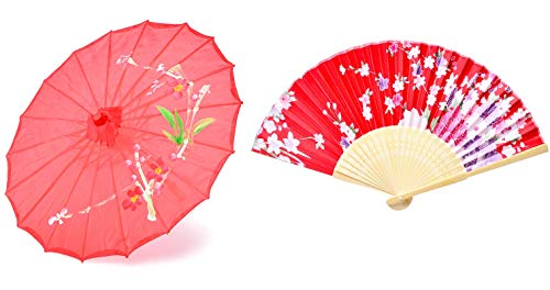(Hand made 22-inch Japanese oriental parasol dancing umbrella with hand held silk folding fans for kids(Red))