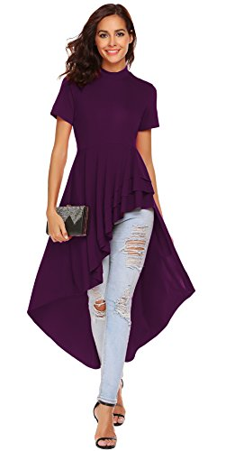 fle High Low Asymmetrical Short Sleeve Bodycon Tops Blouse Shirt Dress (XL, Purple) ()