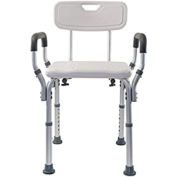 CTKcom Shower Chair with Back, Best Bathtub Chair for Handicap, Disabled, Seniors & Elderly - Adjustable Medical Bath Seat Handles for Bariatrics - Non Slip Tub Safety,White