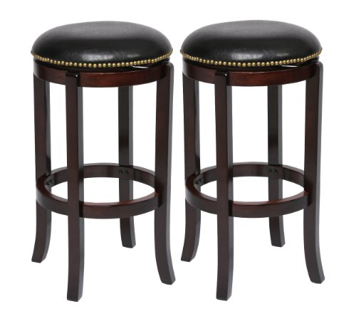 Boraam 3829 Cordova Bar Height Stool, 29-Inch, Cappuccino, 2-Pack - Cherry Finish Pub Game Table