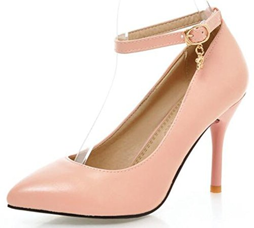 Idifu Womens Sexy Hoge Naaldhakken Gesloten Puntige Enkelband Pumps Schoenen Met Hanger Roze