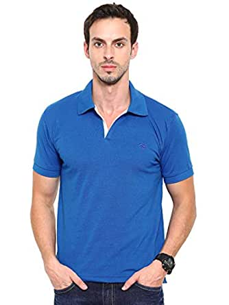 Fifty Two Blue Shirt Neck Polo For Men