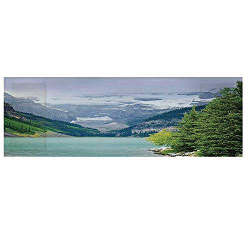 Lake House Decor Microwave Oven Cover,Landscape of Lake Louise and Mountains with Snows Alpine Trees in Alberta Canada Cover for Kitchen,36