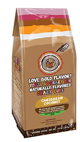 Crazy Cups Flavored Ground Coffee in 10 oz Bag (Decaf Caribbean Coconut, Single 10oz Bag)