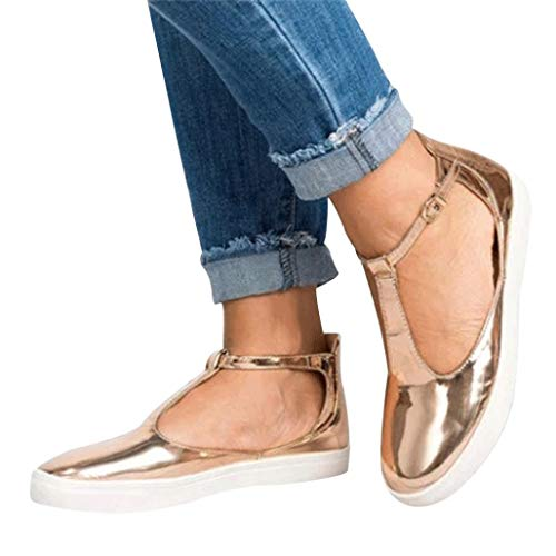 JESFFER Women Vintage Out Shoes Round Toe Platform Flat Heel Buckle Strap Casual Shoes (7, Gold)