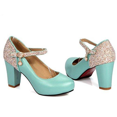Zanpa Femmes Mode Bride Cheville Chaussures Epais Talons blue etFdAYf94