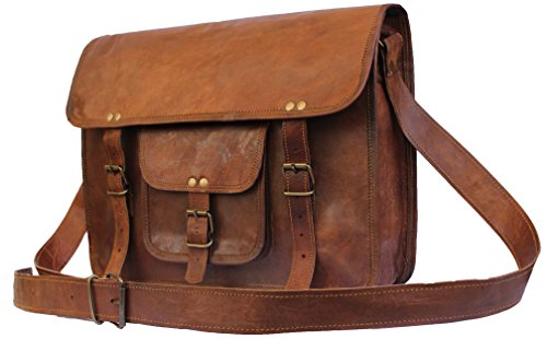 United Leather Bags 15'' Inches Classic Adult Unisex Cross Shoulder Genuine Leather Messenger Laptop Briefcase Bag Satchel Brown by United Leather Bags (Image #1)