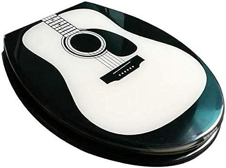 Tapa de Inodoro DJWY Linda Tapa de la Guitarra Inodoro con Resina de urea-formaldehído de Down Slow Ultra Resistente Superior Fija U V O Forma / / WC Compatible Cubierta de Asiento, OneColor-40~48cm