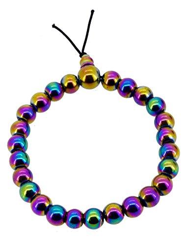 Rainbow Magnetic Simulated Hematite Stretch Wrist Mala Prayer Beads Bracelet (Rainbow Bracelet Bead)