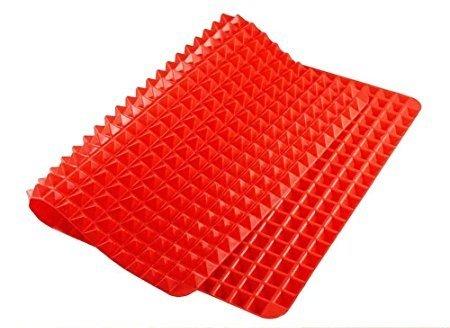 Silicone Baking Mat Pyramid, Red Crisper Pan Non- stick Heat