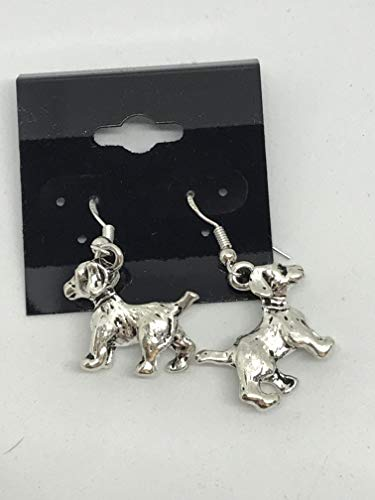 silvertone 3d scottish terrier charm dangle earrings with sterling - Scottie Charm Silver Dog Sterling