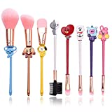 8pcs BT21 Makeup Brush Set with Cute Metal Handle for Eyebrow,Eye Shadow,Foundation,Blending and Lips,Cartoon Cosmetic Brushes with Pink Gift Pouch