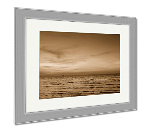 Ashley Framed Prints Seacoast Skyline With Sunset Sky Natural Landscape, Wall Art Home Decoration, Sepia, 26x30 (frame size), Silver Frame, AG5818792 - Seacoast Natural