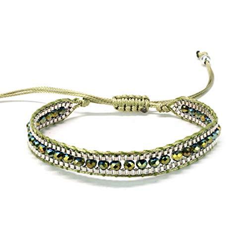 Alaxy Bohemian Colorful Crystal Mix Beaded Single Wrap Handmade Braid Adjustable Bracelet for Women Men (Olive Green)