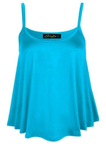 Vest Tunique bretelles Crop 50 Femmes 36 Flare Mini swing Turquoise Caraco An0qw6gX7