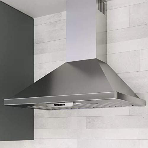 Miseno MH00130CS 750 CFM 30 Inch Stainless Steel Wall Mounted Range Hood with Dual Halogen Lighting System 12' Stainless Steel Duct Cover