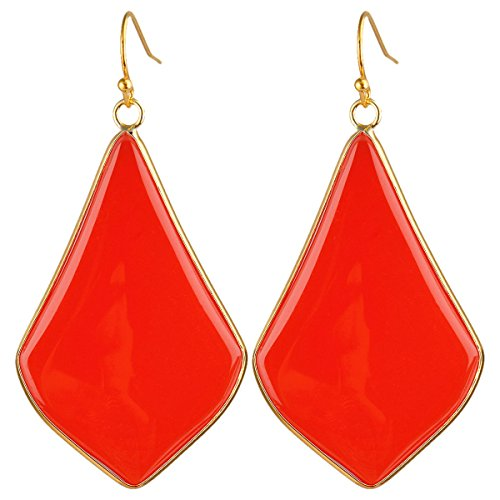 rockcloud Crystal Stone Dangle Earrings Gold Plated, Rhombus Shape, Red Crystal Glass ()