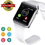 Bluetooth Smart Watch Fitness Tracker, Touch Screen Smart Wrist Smartwatch Support SIM SD Card Slot Make/Answer Phone Camera Pedometer Compatible Android iOS Samsung LG for Women Men Kids (White)