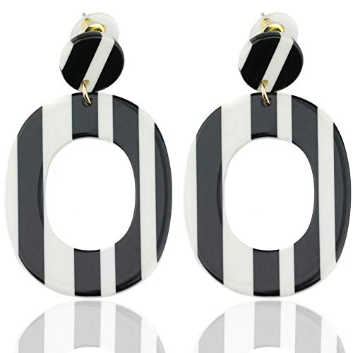Statement Acrylic Earrings for Women:Big Geometric Plastic Retro Dangle for Women (White & Black Striped)
