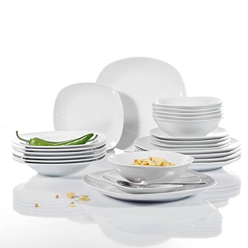 Malacasa, Series Elisa, 48-Piece Ivory White Porcelain Dinne