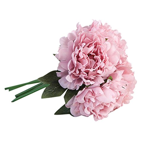 (Peony, 5 Piece Artificial Flowers Natural Fake Plant Unique Gifts Garden Wedding Festival Balcony Courtyard Home Party Events Table Office Patio Decor Clearance (Purple))