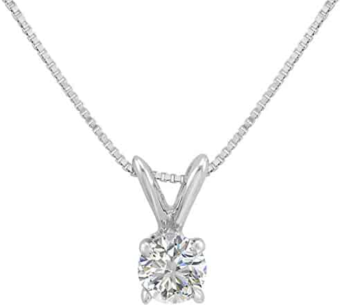 AGS Certified 1/3ct Diamond Solitaire Pendant Necklace in 14K White Gold