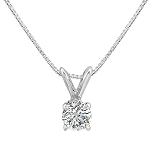 14 Karat White Gold Chain with 1/3ct Diamond Solitaire Pendant Necklace – AGS Certified