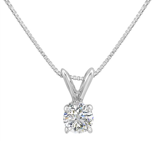 AGS Certified 1/3ct Diamond Solitaire Pendant Necklace in 14K White Gold on an 18 in. 14K White Gold Box Chain ()