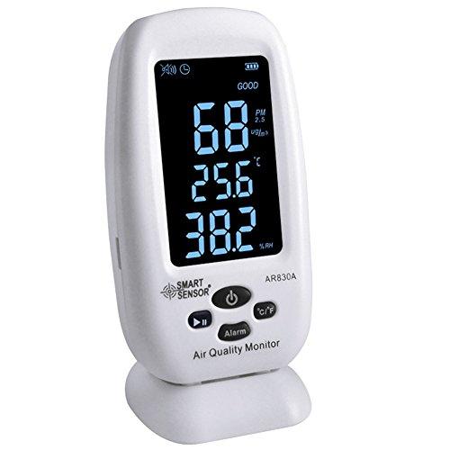 Digital Indoor Air Quality Monitor Color LCD Display Desktop Multifunction 6 in 1 AQI PM2.5 TVOC Temperature Humidity Formaldehyde HCHO Tester Detector by SMART SENSOR