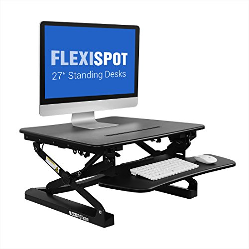 FlexiSpot Stand Up Desk - 27'' wide Height-Adjustable Standing Desk Riser with Removable wider keyboard tray (M1B-Black) by FLEXISPOT