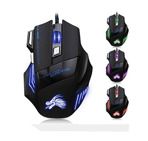 Acoud Wired Gaming Mouse with LED Optical 4 DPI Adjustment Levels 7 Buttons USB Interface Compatible with Windows7/8/10/XP (7D Game)