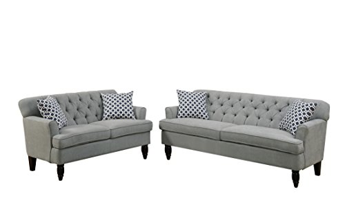 Poundex Bobkona Fostord Velveteen Fabric 2Piece Sofa & Loveseat Set in Taupe ()