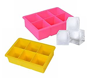 Vina 2 inch Large Ice Cube Maker Tray with 6 Square Silicone Grids for Whiskey Bourbon, Pink+Yellow