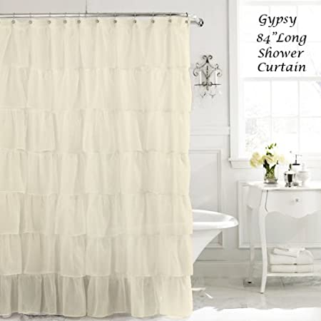 Cream 84 Long Gypsy Shabby Chic Ruffled Fabric Shower Curtain Amazoncouk Kitchen Home
