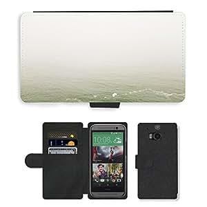 CARD POCKET BOOK CASE PU LEATHER CASE // M00421609 Agua Mar Océano Cielo brumoso Niebla // HTC One M8