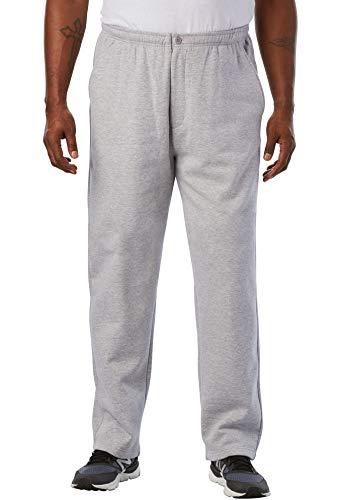 KingSize Men's Big & Tall Fleece Zip Fly Pants, Heather Grey Tall-L
