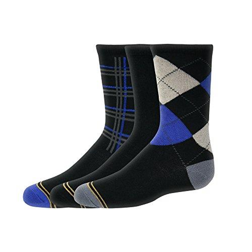 Gold Toe Big Boys' 3 Pack Argyle/plaid Dress Crew, Black Argyle/Black Jersey/Black Plaid, - Gold Boys Socks