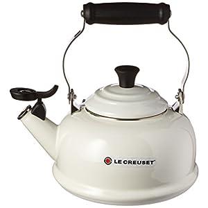 Le Creuset Enamel-on-Steel Whistling 1-4/5-Quart Teakettle, White