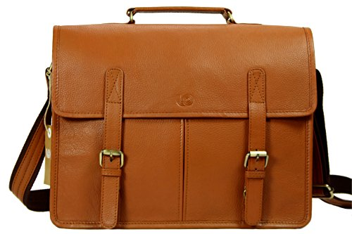 Over Double Compartment Laptop Bag - Leftover Studio Double Pocket Messenger Bag Tan in Top Grain Cow Leather