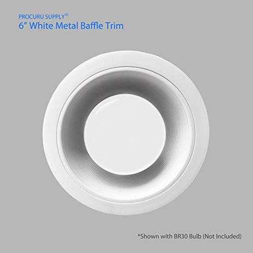 [12-Pack] PROCURU 6'' White Baffle Metal Recessed Can Light Trim - for BR30/38/40, PAR30/38/40 LED, Incandescent, CFL, Halogen (White (12-Pack)) by PROCURU (Image #2)'