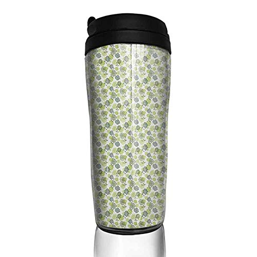 Dotted Hoop - coffee cups for mom Floral,Abstract Blossoms in Green Shades on Polka Dotted Retro Style Background, Apple Green Sage Green 12 oz,coffee cup for men